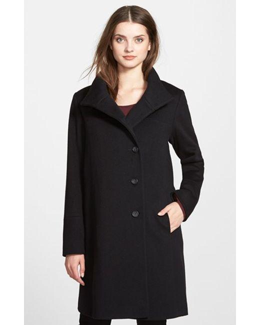 Fleurette | Black Wool Stand Collar Car Coat | Lyst