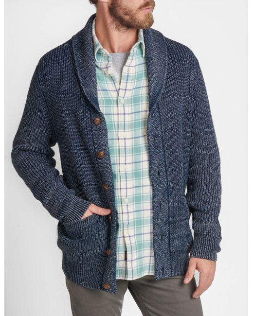 Faherty Brand - Blue Indigo Shawl Cardigan for Men - Lyst