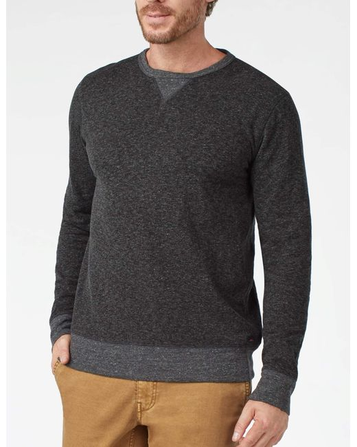 Faherty Brand - Black Heather Dual Knit Crewneck for Men - Lyst