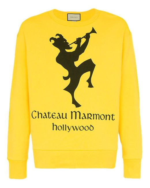 """Gucci - Yellow Sweatshirt mit """"Chateau Marmont""""-Print for Men - Lyst"""