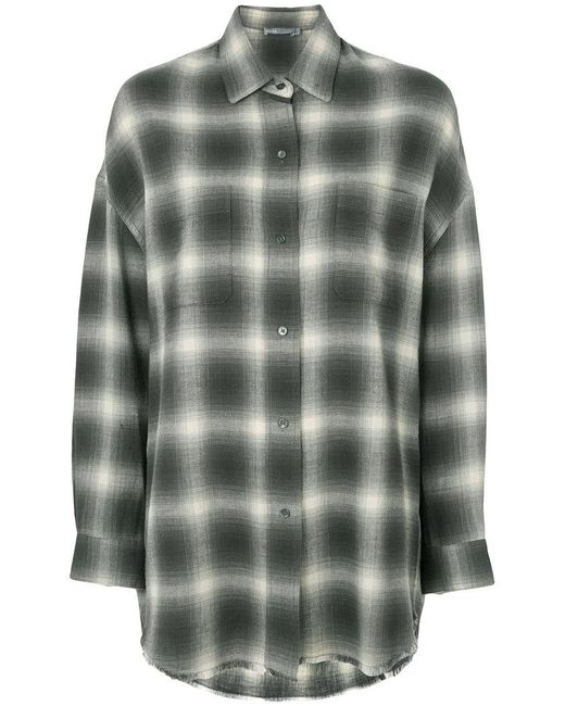 Vince | Gray Relaxed Check Shirt | Lyst