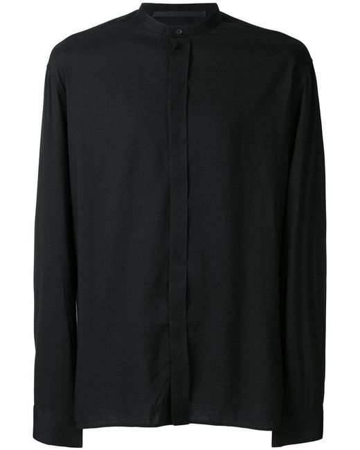 Haider Ackermann - Black Collarless Shirt for Men - Lyst