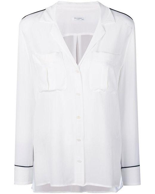 Equipment - White Piped Trim Pyjama-style Shirt - Lyst