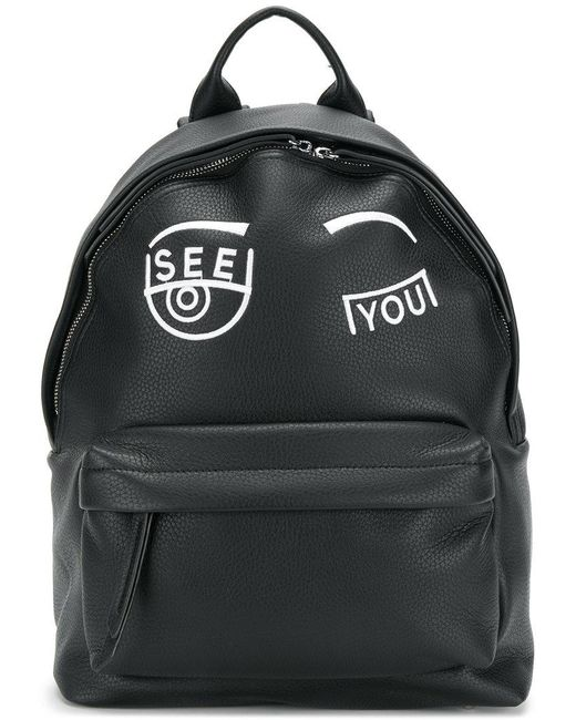 Chiara Ferragni - Black See You Embroidered Backpack - Lyst