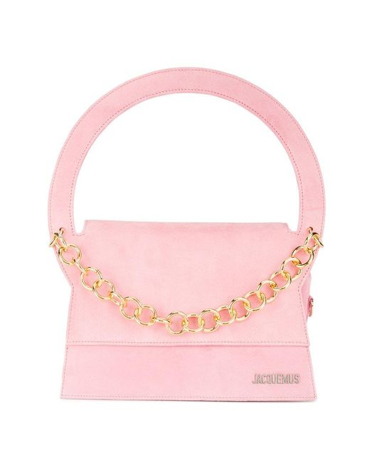 Jacquemus | Pink Le Petit Rond Small Bag With Gold Chain | Lyst