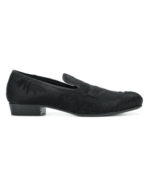 Ann Demeulemeester Blanche - Black Embroidered Floral Slippers for Men - Lyst