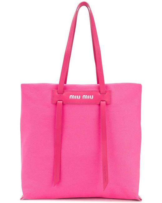 Miu Miu - Pink Long Handle Shopper - Lyst ... 38376715d2