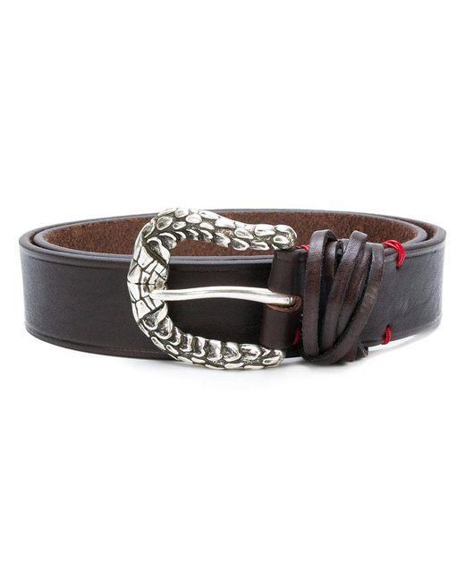 Eleventy - Brown Textured Buckle Belt for Men - Lyst