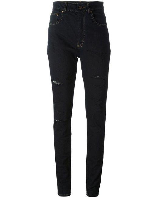 Saint Laurent - Blue Distressed Skinny Jeans - Lyst
