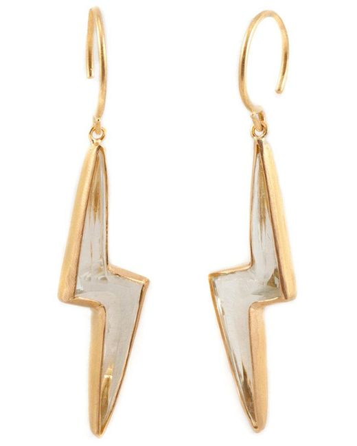 Marie-hélène De Taillac | Metallic Pale Green Quartz Lighting Bolt Earings | Lyst