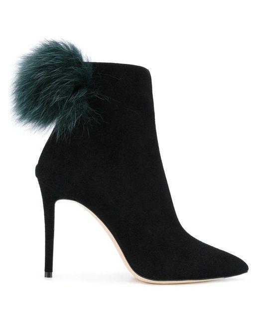Jimmy Choo | Black Tesler Pom Pom Ankle Boots | Lyst