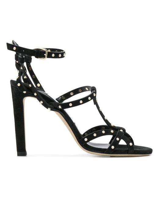 2780a2c82204 ... inexpensive jimmy choo black beverly 100 pearl embellished sandals lyst  7bcbd 952b4