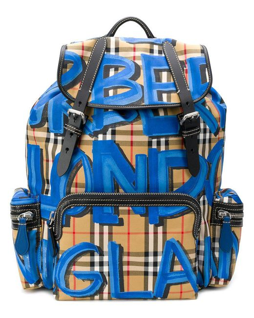 Burberry - Blue Graffiti Vintage Check Medium Backpack for Men - Lyst