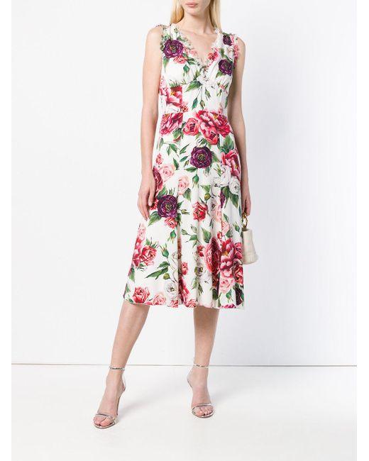 cae024fd484 ... Lyst Dolce   Gabbana - White Rose Printed Flared Dress ...