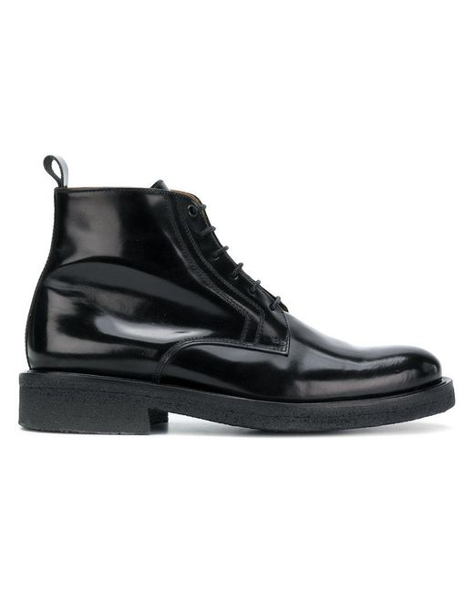 AMI - Black Laced Boots With Crepe Sole for Men - Lyst