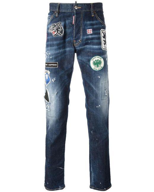 dsquared cool guy patch jeans in blue for men lyst. Black Bedroom Furniture Sets. Home Design Ideas