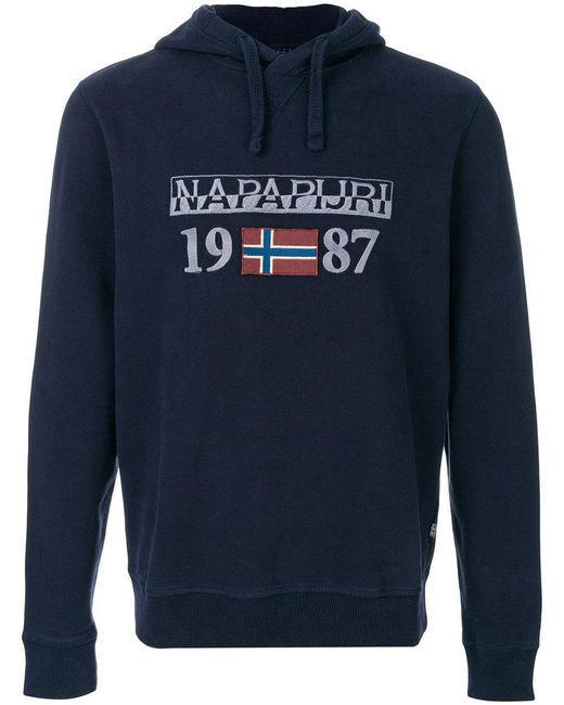 Napapijri | Blue Logo Embroidered Hoody for Men | Lyst