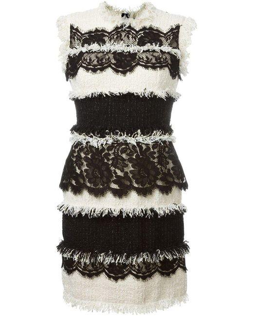 Lanvin | Black Mixed Tweed Lace Dress | Lyst