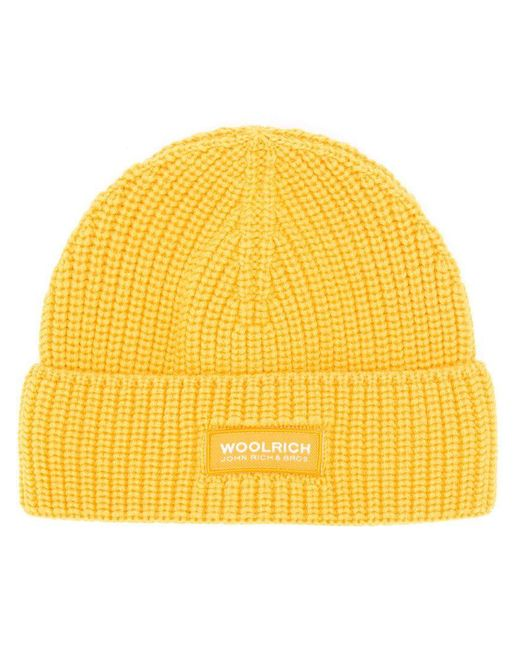 Woolrich - Yellow Folded Beanie for Men - Lyst