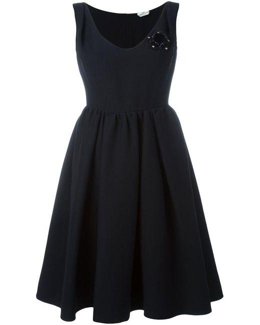 d75d37c7 Fendi - Black Flower Appliqué Dress - Lyst ...