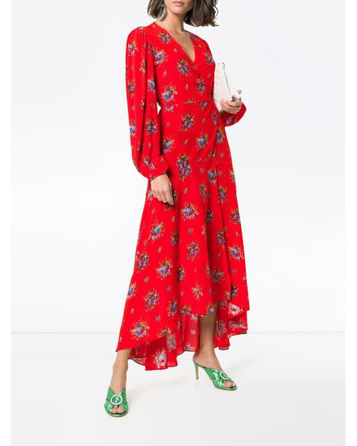 86c773ce Ganni Kochhar Floral Maxi-dress in Red - Save 76% - Lyst