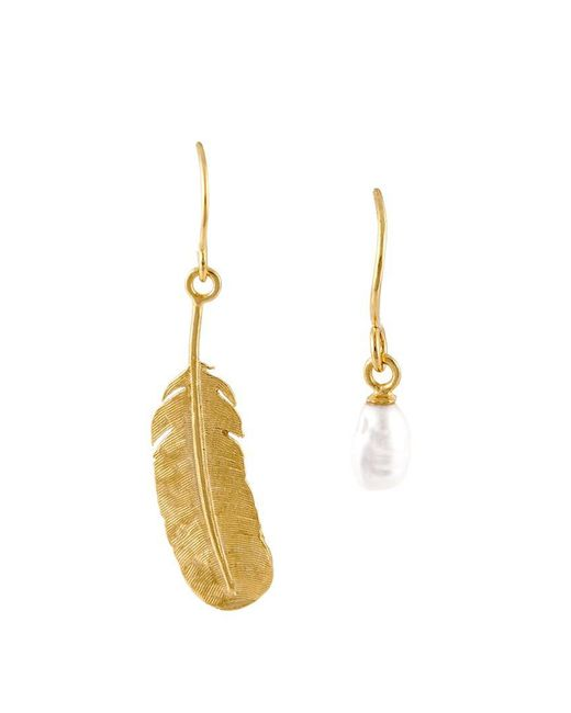 Wouters & Hendrix - Metallic 'my Favourite' Feather And Pearl Earrings - Lyst