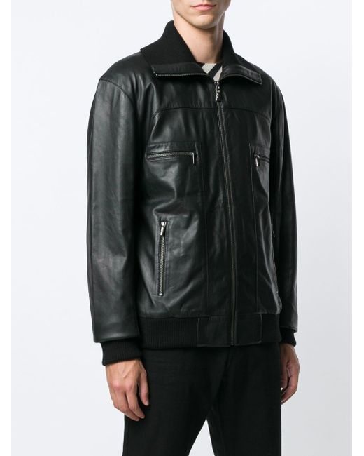 ... Class Roberto Cavalli - Black Leather Bomber Jacket for Men - Lyst ... 88b8679a6ba