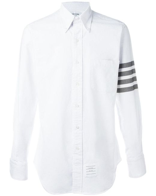 Lyst thom browne stripe sleeve shirt in white for men for Thom browne shirt sale