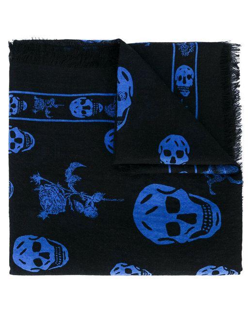 Alexander McQueen | Black Skull And Badge Scarf for Men | Lyst