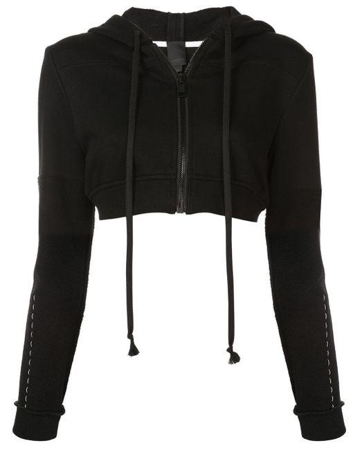 Cropped zip hoodie Vera Wang en coloris Black