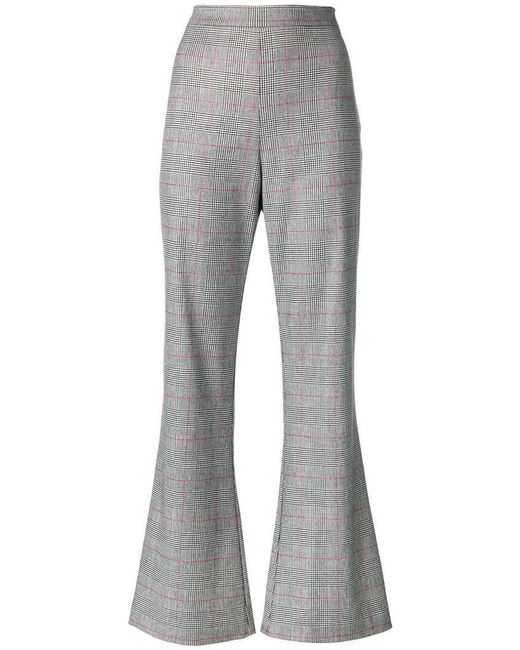 Vivetta - Black Flared Checked Trousers - Lyst