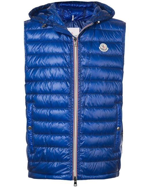 Lyst Moncler Padded Hooded Gilet In Blue For Men
