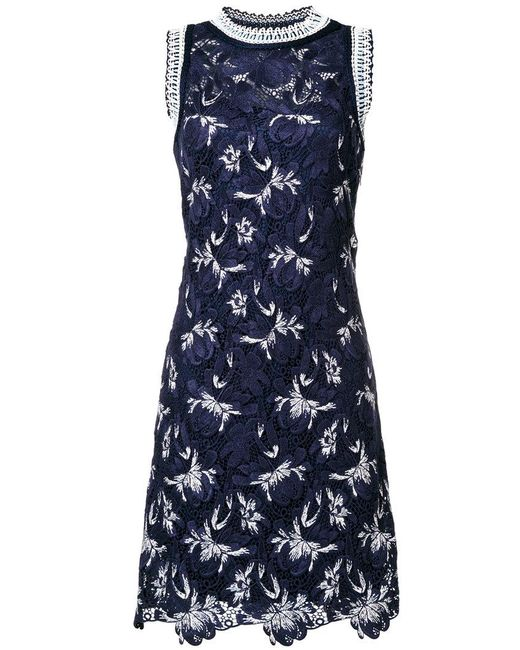 Ermanno Scervino - Blue Floral Lace Rib Trim Dress - Lyst