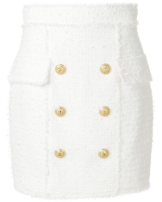 Balmain - White Button-embellished Skirt - Lyst