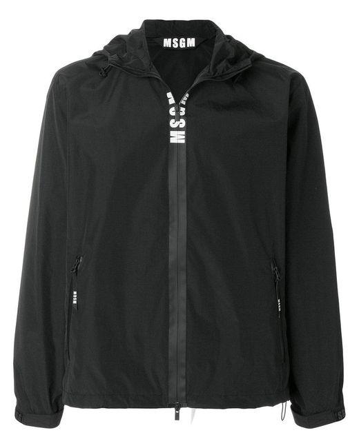 MSGM - Black Logo Hooded Windbreaker for Men - Lyst