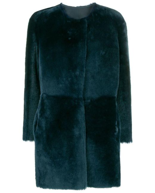 Desa Nineteenseventytwo - Blue Collarless Coat - Lyst