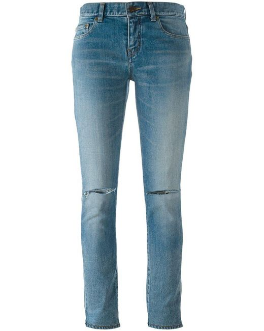 Saint Laurent | Blue Distressed Skinny Fit Jeans | Lyst