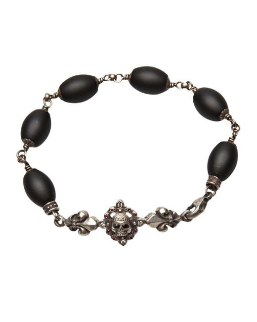 Roman Paul | Black Fleur De Lis Bracelet for Men | Lyst