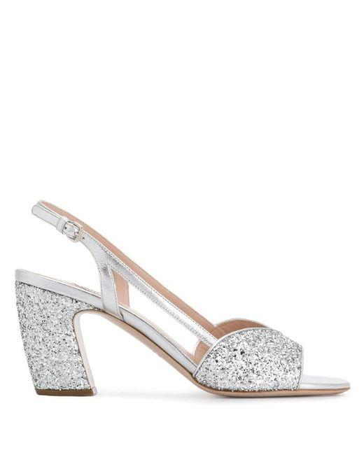 72cf44ee27 Miu Miu - Metallic Glitter Sandals - Lyst ...