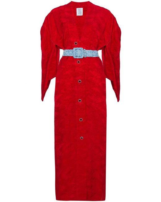 Rosie Assoulin - Red Kimono Jacquard Dress - Lyst