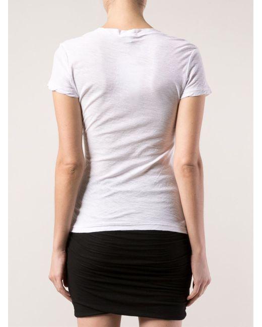 James Perse Reverse Binding T-shirt In White - Save 12%