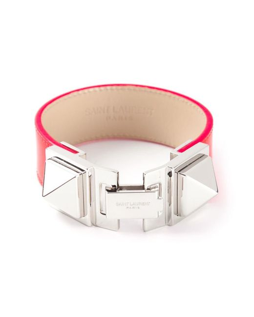 Saint Laurent | Pink Studded Bracelet | Lyst