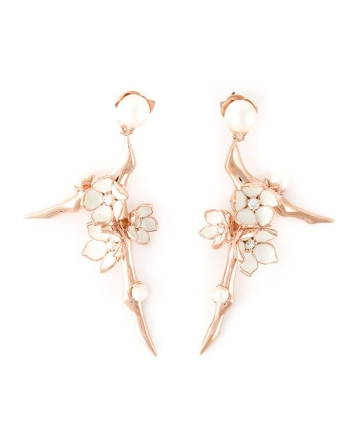 Shaun Leane | Metallic Rose Gold Vermeil And Sterling Silver 'cherry Blossom' Earrings | Lyst