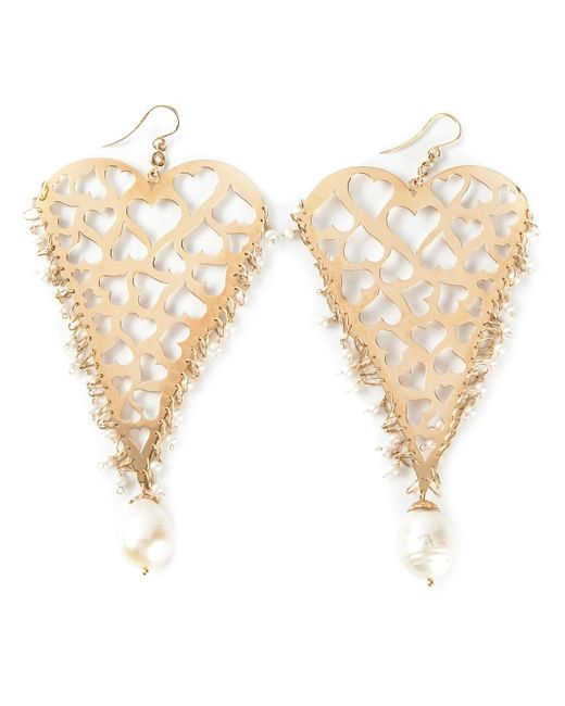Natasha Zinko | Metallic 18kt Yellow Gold Heart Earrings | Lyst