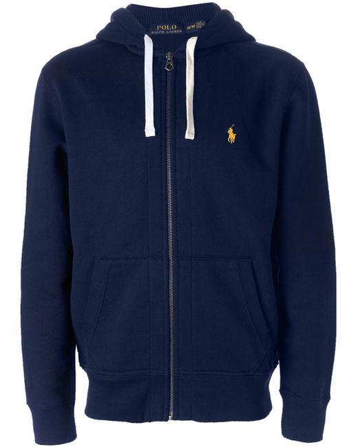 polo ralph lauren zip up cotton blend hooded sweatshirt in. Black Bedroom Furniture Sets. Home Design Ideas