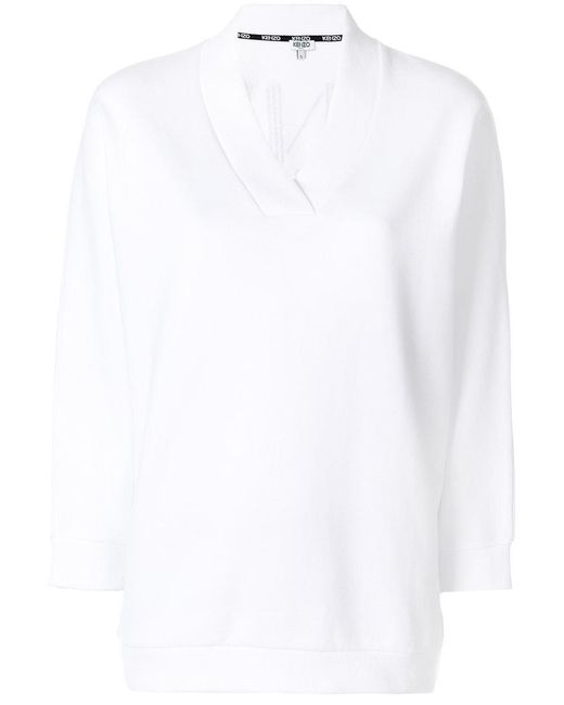 KENZO   White V-neck Sweater   Lyst