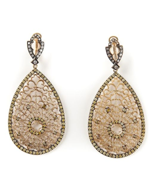 Loree Rodkin | Metallic Filigree Diamond Tear Drop Earrings | Lyst
