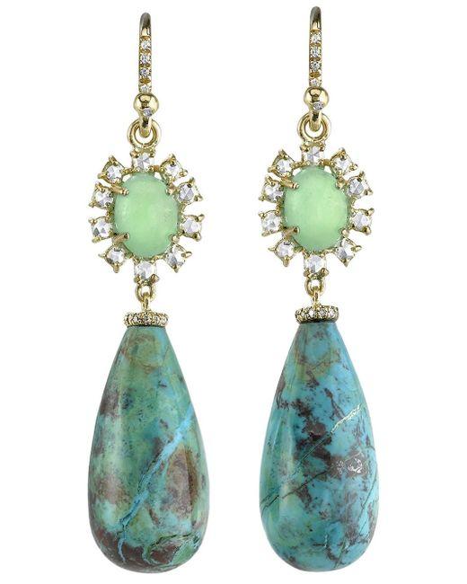 Irene Neuwirth | Metallic Turquoise And Diamond Drop Earrings | Lyst