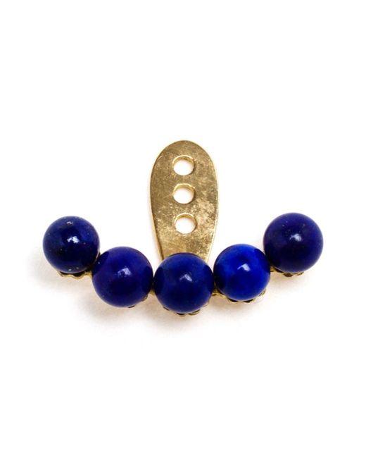 Yvonne Léon   Metallic 18kt Gold And Lapis Lazuli Lobe Earring   Lyst