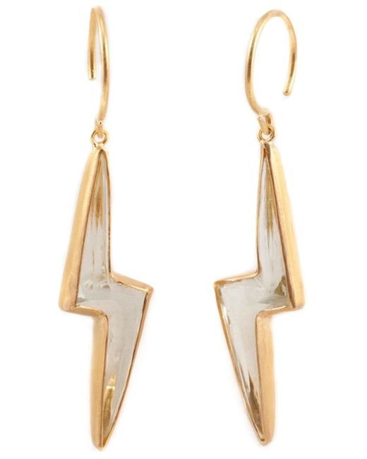 Marie-hélène De Taillac | Metallic Pale Green Quartz Lighting Bolt Earings | Lyst